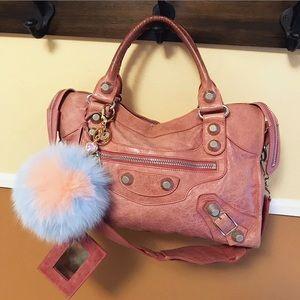 Auth. Balenciaga Rose Pink Giant City Handbag